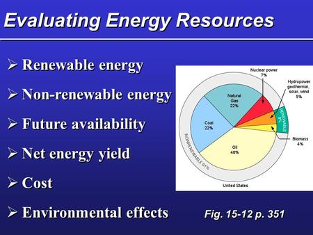Evaluating Energy Resources  Renewable energy  Non-renewable energy  Future availability  Net energy yield  Cost  Environmental effects Fig. 15-12.