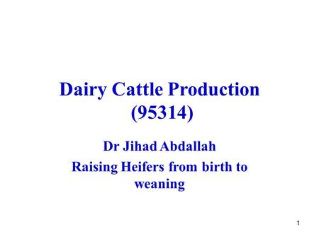 1 Dairy Cattle Production (95314) Dr Jihad Abdallah Raising Heifers from birth to weaning.