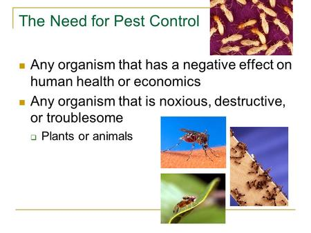 The Need for Pest Control Any organism that has a negative effect on human health or economics Any organism that is noxious, destructive, or troublesome.