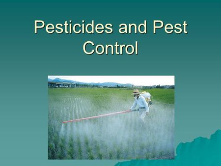 Pesticides and Pest Control. Types of Pesticides and Their Uses  Pests: Any species that competes with us for food, invades lawns and gardens, destroys.