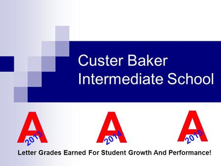 Custer Baker Intermediate School Letter Grades Earned For Student Growth And Performance! 2013 2014 2015.