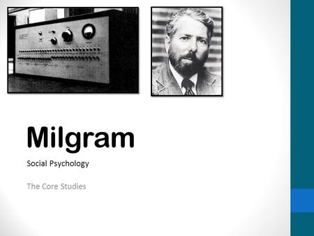 Milgram Social Psychology The Core Studies. Background WW2 – Looking at why the Nazi's did what they did Obedience – Following a direct order Destructive.