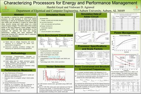 Characterizing Processors for Energy and Performance Management Harshit Goyal and Vishwani D. Agrawal Department of Electrical and Computer Engineering,
