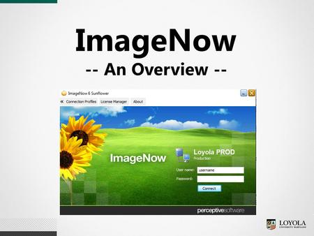 ImageNow -- An Overview --. What is ImageNow?  Loyola's document imaging and workflow application  Primary application (web based and desktop) of the.