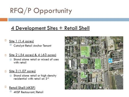RFQ/P Opportunity Site 1 (1.4 acres) Catalyst Retail Anchor Tenant  Site 2 (.54 acres) & 4 (.63 acres)  Stand alone retail or mixed of uses with retail.
