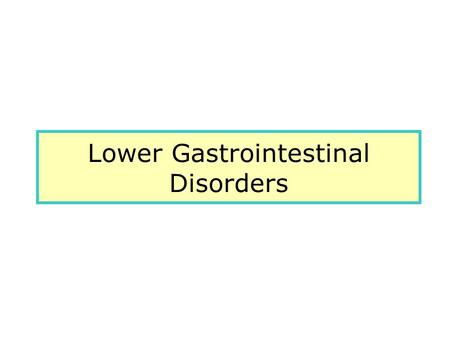 Lower Gastrointestinal Disorders. Common Intestinal problems.