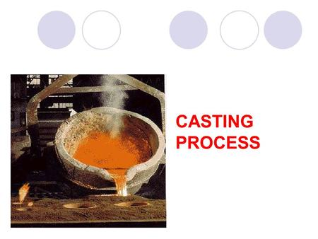 CASTING PROCESS. SAND CASTING Sand Casting In this process, sand mixed with binder and water is compacted around wood or metal pattern halves to produce.