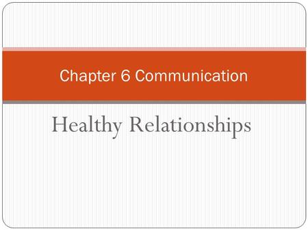 Healthy Relationships Chapter 6 Communication. Effective Communication Communication is the process of sharing information, thoughts, or feelings. 4 skills: