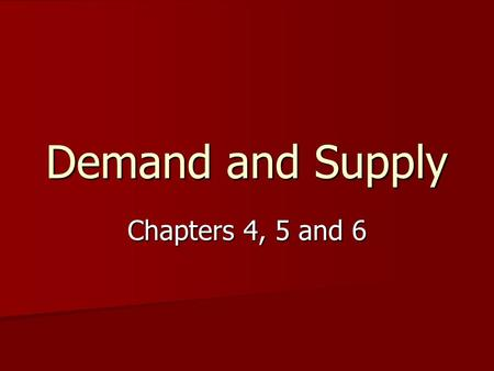 Demand and Supply Chapters 4, 5 and 6. Demand demand is a schedule that shows the various amounts of a product consumers are WILLING and ABLE to BUY at.