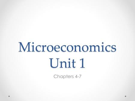 Microeconomics Unit 1 Chapters 4-7. Consumer Surplus o Willingness to pay Maximum price a consumer is willing to buy o Individual consumer surplus- is.