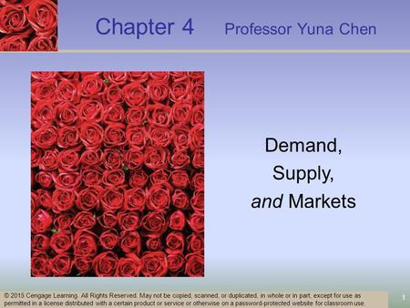 Chapter 4 Professor Yuna Chen 1 © 2015 Cengage Learning. All Rights Reserved. May not be copied, scanned, or duplicated, in whole or in part, except for.