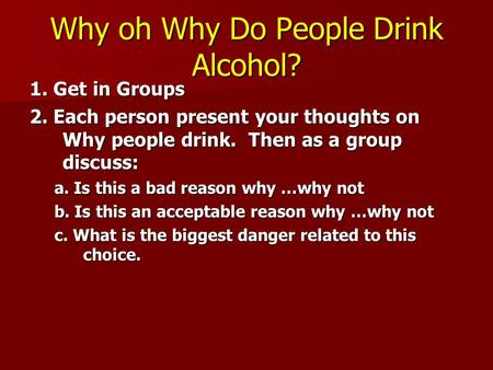 a analysis of categories of people who drink alcohol Alcohol, drugs and youth young people who start drinking alcohol before age 15 are 5 times more likely to develop alcohol abuse or more in this category.