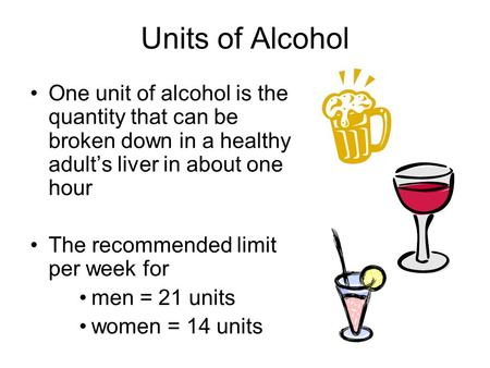 Units of Alcohol One unit of alcohol is the quantity that can be broken down in a healthy adult's liver in about one hour The recommended limit per week.