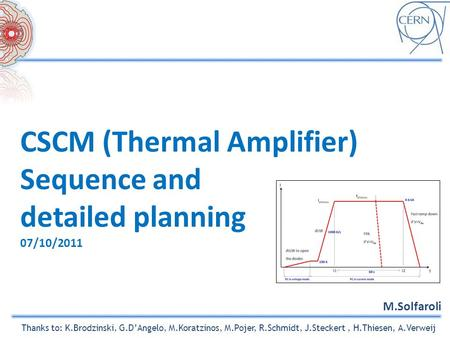 CSCM (Thermal Amplifier) Sequence and detailed planning 07/10/2011 M.Solfaroli Thanks to: K.Brodzinski, G.D'Angelo, M.Koratzinos, M.Pojer, R.Schmidt, J.Steckert,