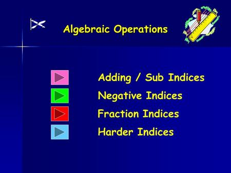Algebraic Operations Adding / Sub Indices Negative Indices Fraction Indices Harder Indices.
