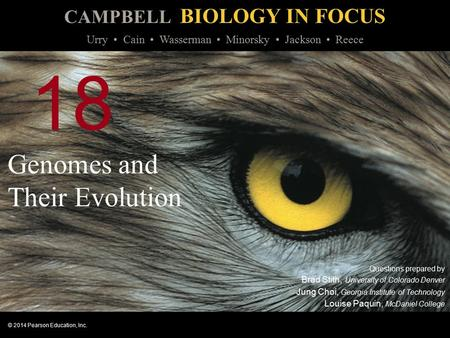 CAMPBELL BIOLOGY IN FOCUS © 2014 Pearson Education, Inc. Urry Cain Wasserman Minorsky Jackson Reece 18 Genomes and Their Evolution Questions prepared by.