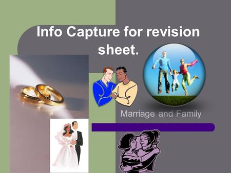 Info Capture for revision sheet. Marriage and Family.