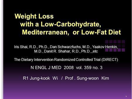 Iris Shai, R.D., Ph.D., Dan Schwarzfuchs, M.D., Yaakov Henkin, M.D., Danit R. Shahar, R.D., Ph.D.,,etc The Dietary Intervention Randomized Controlled Trial.