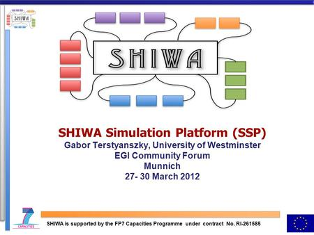 SHIWA Simulation Platform (SSP) Gabor Terstyanszky, University of Westminster EGI Community Forum Munnich 27- 30 March 2012 SHIWA is supported by the FP7.