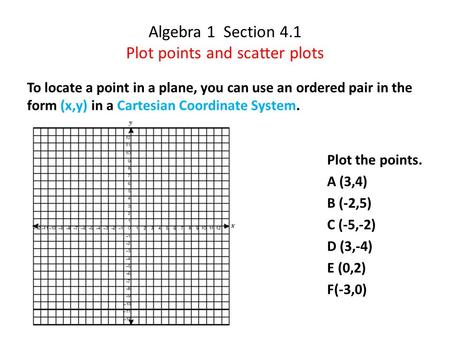 Algebra 1 Section 4.1 Plot points and scatter plots To locate a point in a plane, you can use an ordered pair in the form (x,y) in a Cartesian Coordinate.