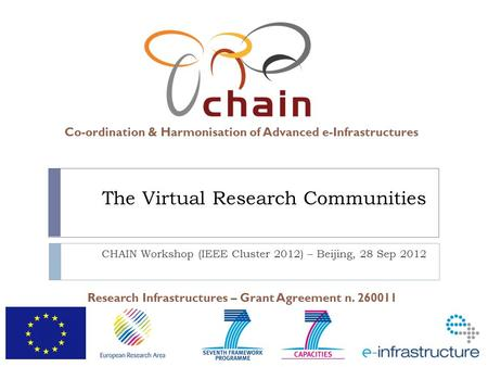 Co-ordination & Harmonisation of Advanced e-Infrastructures Research Infrastructures – Grant Agreement n. 260011 The Virtual Research Communities CHAIN.