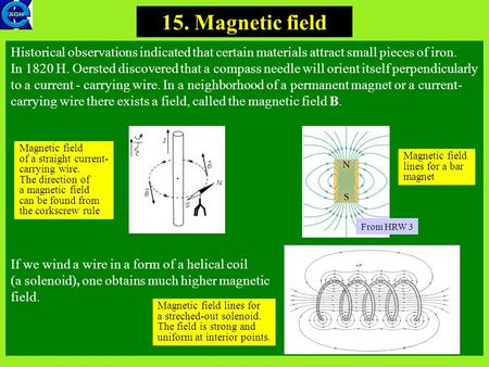 1 15. Magnetic field Historical observations indicated that certain materials attract small pieces of iron. In 1820 H. Oersted discovered that a compass.