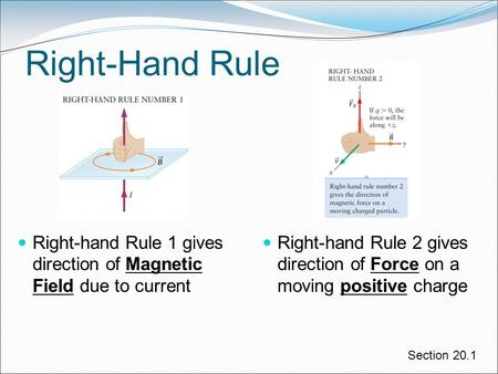 Right-hand Rule 2 gives direction of Force on a moving positive charge Right-Hand Rule Right-hand Rule 1 gives direction of Magnetic Field due to current.
