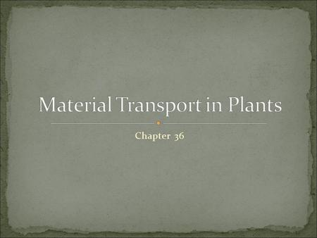 Chapter 36. Water to land required: Acquiring sunlight/CO 2 from above Water/minerals from below Further complicated by transport of materials Resources.