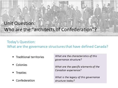 "Unit Question: Who are the ""architects of Confederation""?  Traditional territories  Colonies  Treaties  Confederation What are the characteristics."