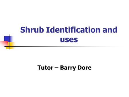 Shrub Identification and uses Tutor – Barry Dore.
