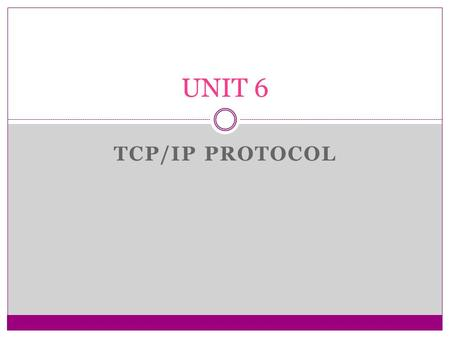TCP/IP PROTOCOL UNIT 6. Overview of TCP/IP Application FTP, Telnet, SMTP, HTTP.. Presentation Session TransportHost-to-HostTCP, UDP NetworkInternetIP,