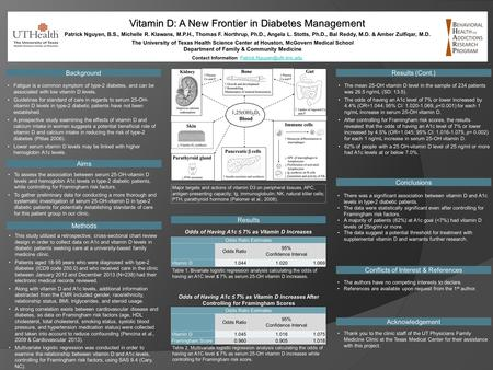 Vitamin D: A New Frontier in Diabetes Management Contact Information: Background Acknowledgement Methods.