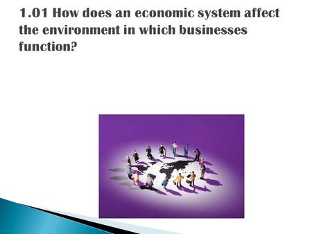 1.01 How does an economic system affect the environment in which businesses function?