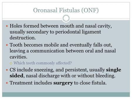 Oronasal Fistulas (ONF) Holes formed between mouth and nasal cavity, usually secondary to periodontal ligament destruction. Tooth becomes mobile and eventually.