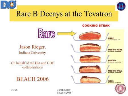 7/7/06Jason Rieger BEACH 2006 Rare B Decays at the Tevatron Jason Rieger, Indiana University On behalf of the DØ and CDF collaborations BEACH 2006.