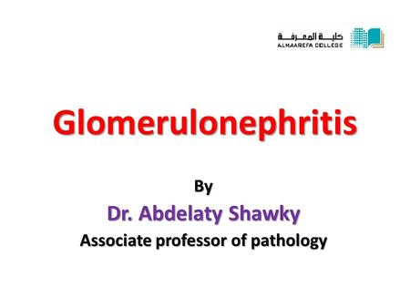 Glomerulonephritis By Dr. Abdelaty Shawky Associate professor of pathology.