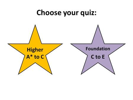 Choose your quiz: Higher A* to C C to E Foundation.