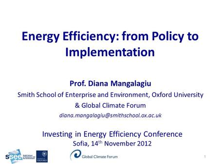 Energy Efficiency: from Policy to Implementation Investing in Energy Efficiency Conference Sofia, 14 th November 2012 Prof. Diana Mangalagiu Smith School.