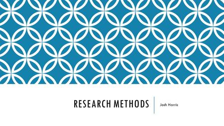 RESEARCH METHODS Josh Harris. TYPES OF RESEARCH QUALITATIVE RESEARCH Qualitative Research is research which is used to express people's opinions and.