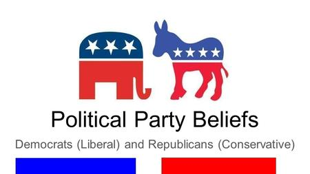 Political Party Beliefs Democrats (Liberal) and Republicans (Conservative)