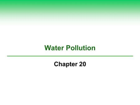 Water Pollution Chapter 20. Case Study: A River on Fire  Cuyahoga River  Cleveland, Ohio (1969)  Spurred major Amendments to Clean Water Act.