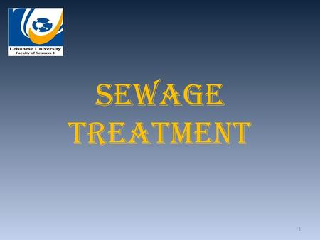 Sewage Treatment 1. Introduction The bulk of the biodegradable pollutants that can be released into the environment is made up of: 1. Domestic wastes.