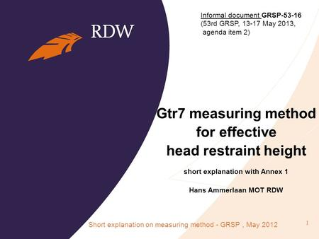 Gtr7 measuring method for effective head restraint height short explanation with Annex 1 Hans Ammerlaan MOT RDW Short explanation on measuring method -