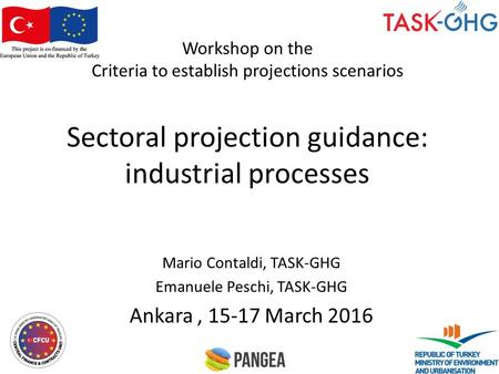 Workshop on the Criteria to establish projections scenarios Sectoral projection guidance: industrial processes Mario Contaldi, TASK-GHG Emanuele Peschi,