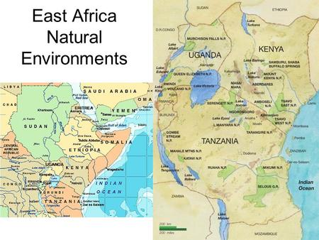 East Africa Natural Environments. Major Land feature? Great Rift Valley - Breaking of Earth crust in East Africa.