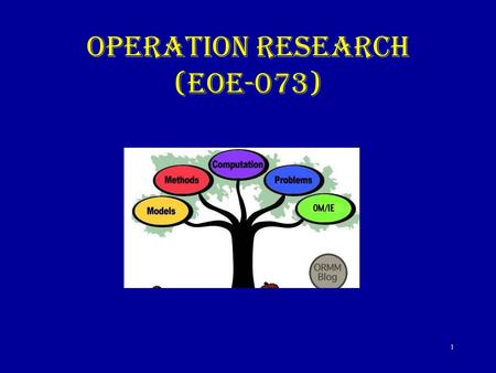 OPERATION RESEARCH (EOE-073) 1. 2 Introduction Operations Research is an Art and Science It had its early roots in World War II and is flourishing in.