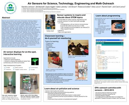 Air Sensors for Science, Technology, Engineering and Math Outreach Karoline Johnson 1, Bill Mitchell 2, Gayle Hagler 2, Katie Lubinsky 1, Ann Brown 3,