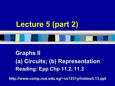 1 Lecture 5 (part 2) Graphs II (a) Circuits; (b) Representation Reading: Epp Chp 11.2, 11.3