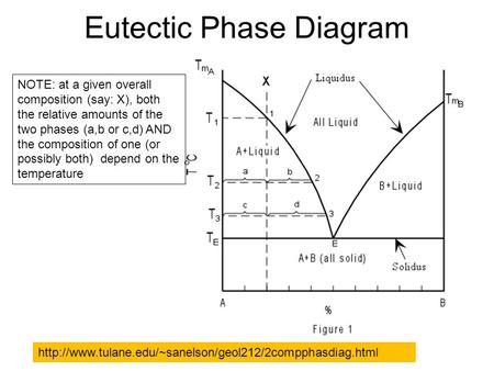 Eutectic Phase Diagram  NOTE: at a given overall composition (say: X), both the relative amounts.