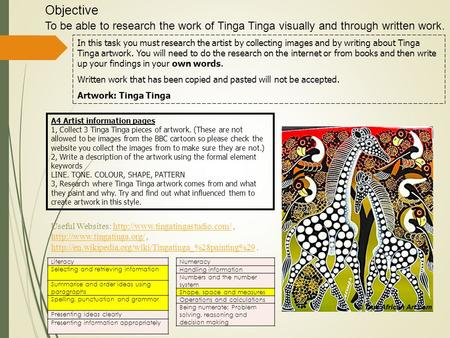 Objective To be able to research the work of Tinga Tinga visually and through written work. A4 Artist information pages 1, Collect 3 Tinga Tinga pieces.